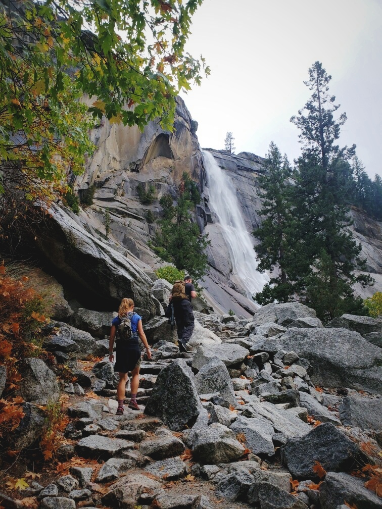 Climbing up the Mist Trail next to Nevada Falls.