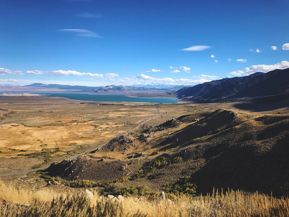 An overlook of the shallow, saline, Mono Lake.