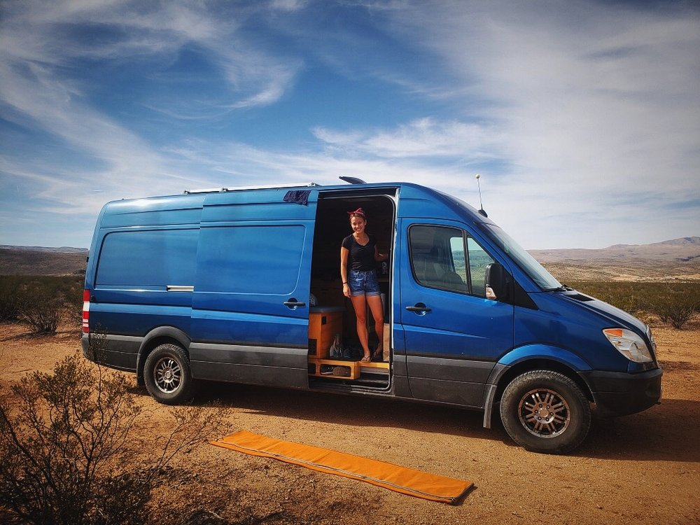 When we are hanging out at a dusty campsite, we will put our Sand-Free Mat out in front of our door to keep sand out of the van.