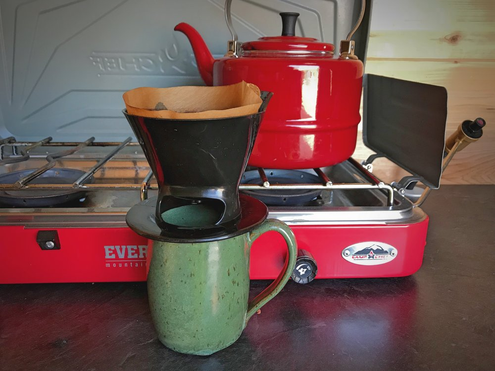 We love making coffee in our van with our pour over coffee maker. It's so easy to use that we probably continue to use it even when we are not living in the van anymore.