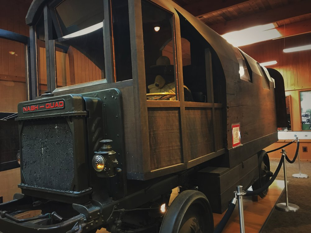 The massive Redwood Log was combined with Nash Quad truck to make the most unique home on wheels that we've seen.