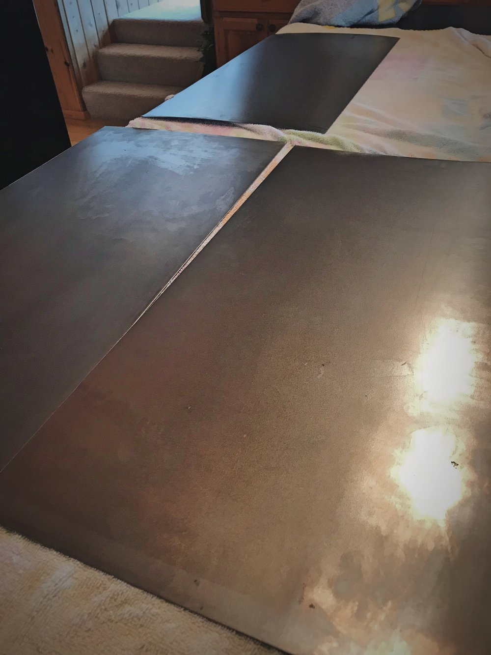 The weldable sheet metal after being washed.