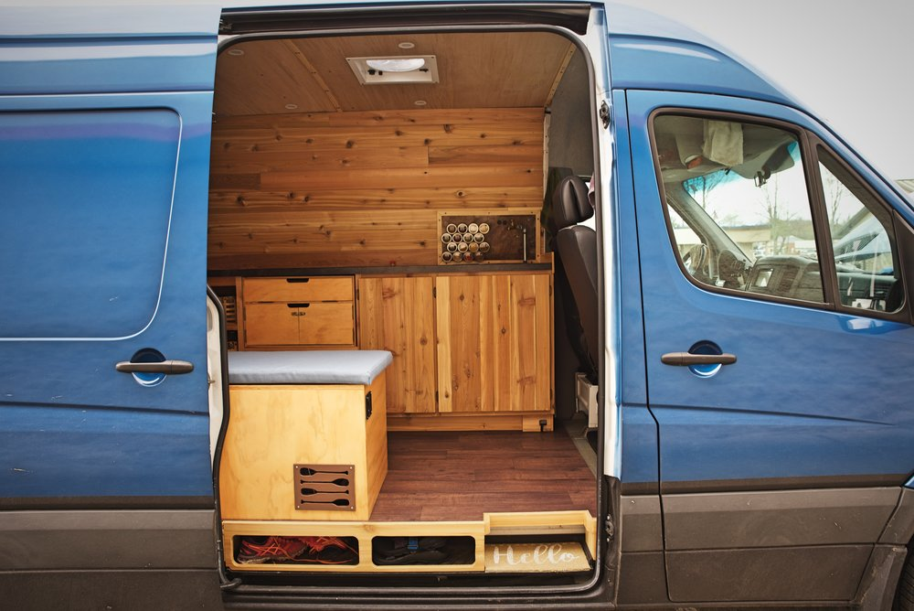 The cabinets fit with the style of the van. Because of the extra time we took in the design stage, we also have really useful areas for storage and cooking.