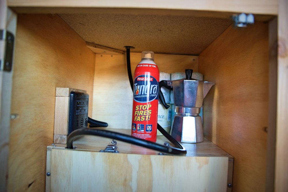 We always keep this small fire extinguisher handy in our van.