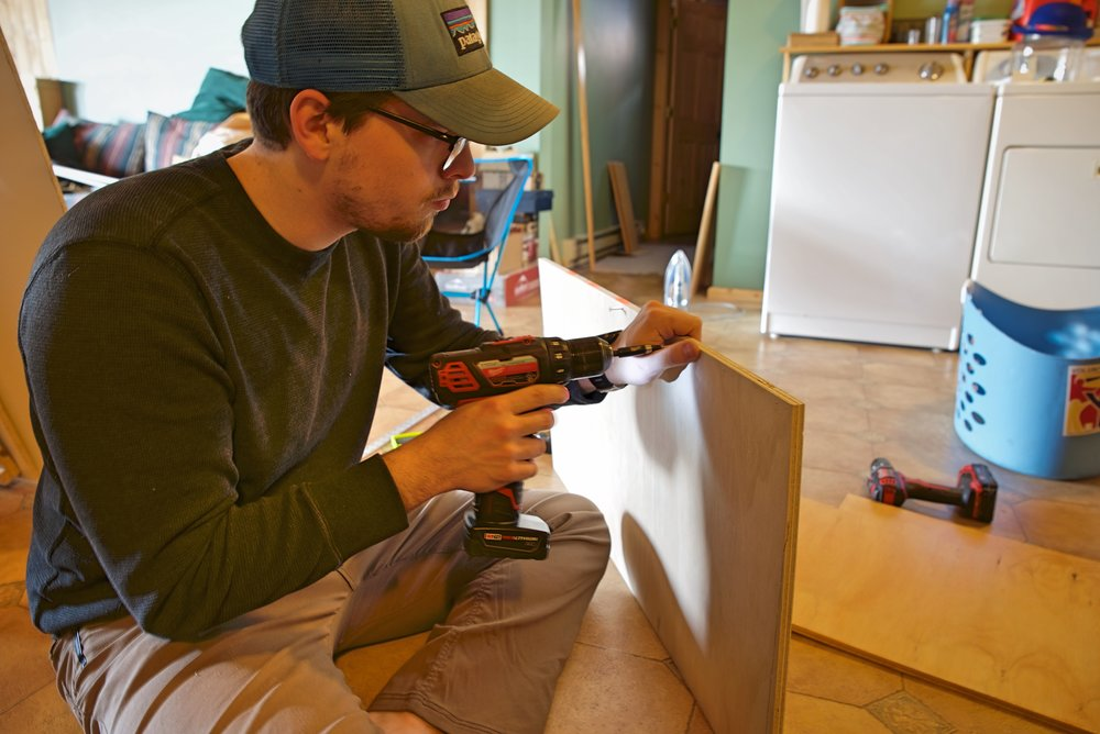 Ian works on the outside case for the cabinet that would eventually contain the propane locker.