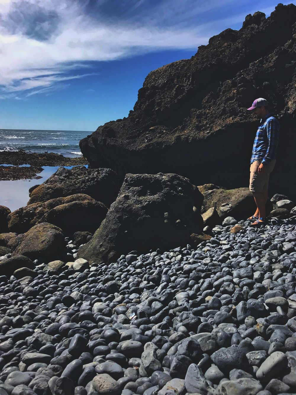 Ian checks out some of the tidal pools at Yaquina Head.