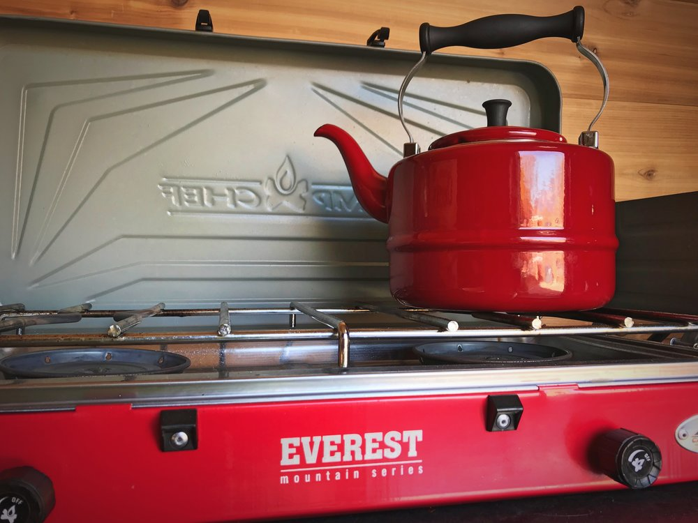 Our Camp Chef Everest stove has proved to be a great stove for vanlife. It gives you a lot of control over temperature.