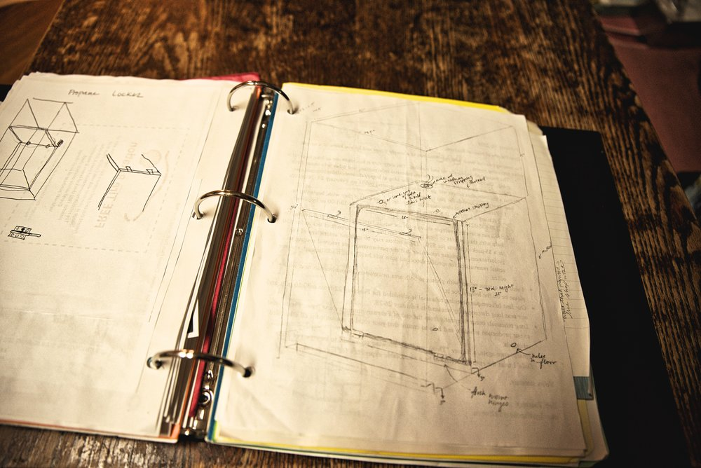 These are the plans for the propane locker in the cabinetry of our van.