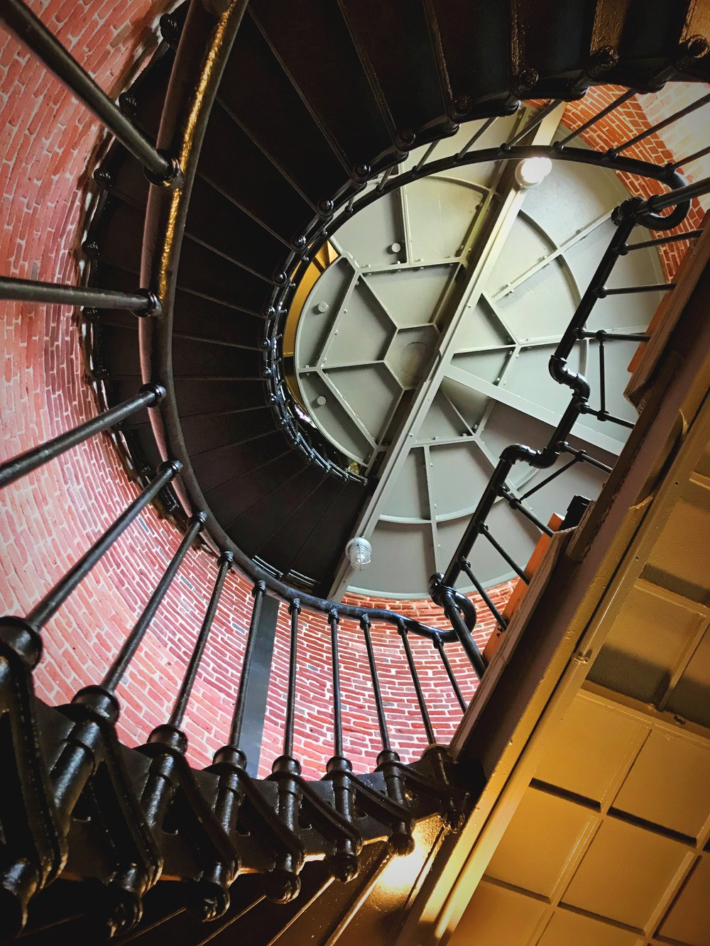 Looking up the tower at Heceta Head Lighthouse.