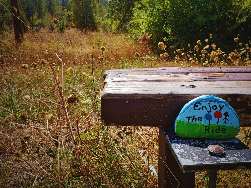We noticed this cute little painted rocks at one of the rest areas along the trail.
