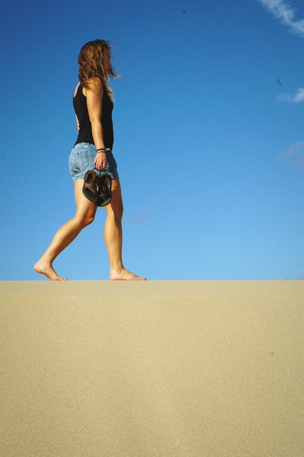 In some windblown areas the sand is very firm.