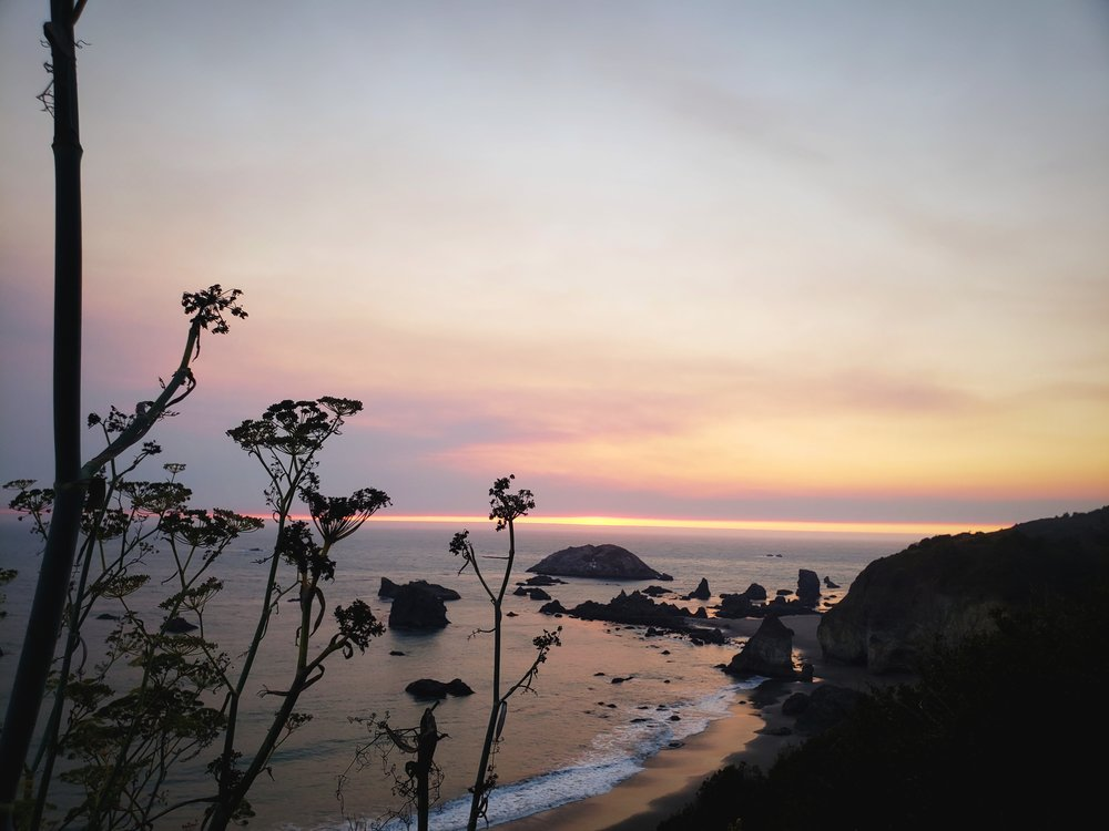 This is the view at sunset from a pull off along Highway 101, just outside Brookings, Oregon.