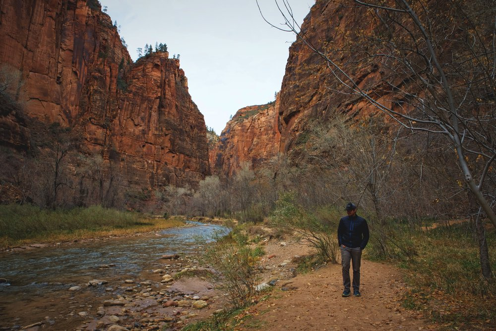 Ian walks along the Virgin River in one of the areas where you can access the river bank.