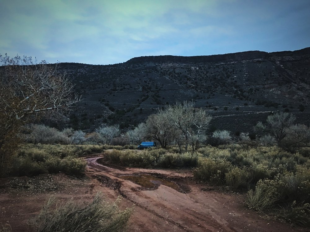 This campsite along Kolob Terrace road is really peaceful on a winter's evening—but you can see how muddy it was.