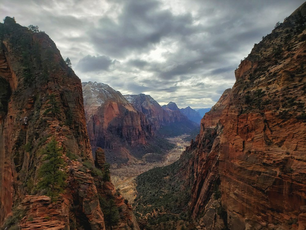 The view from the saddle before the final climb up the ridge of Angels Landing.