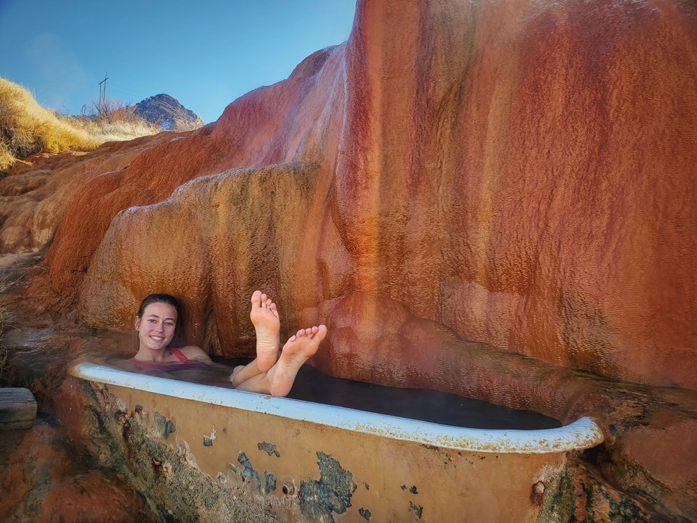 Enjoying a soak in the hottest tub at Mystic Hot Springs.