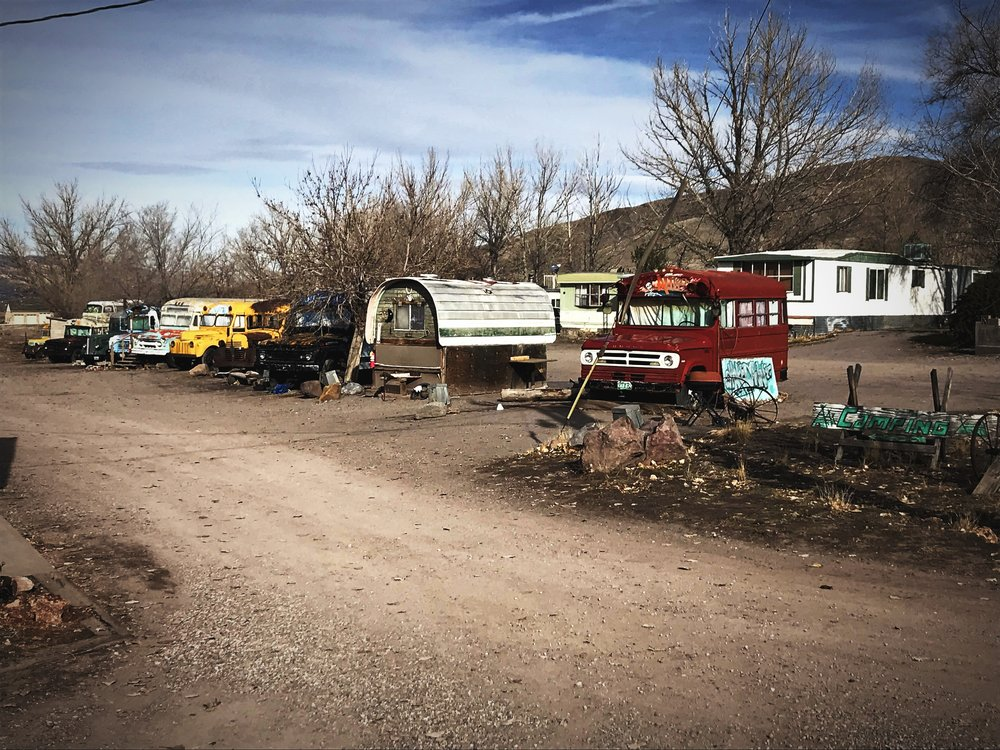 You could get a taste of #buslife, or #wagonlife?, at Mystic Hot Springs.