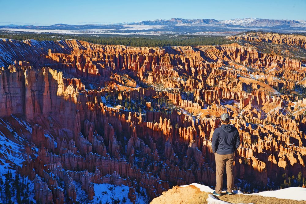 Ian looks out over the majestic Bryce Canyon at Bryce Point.