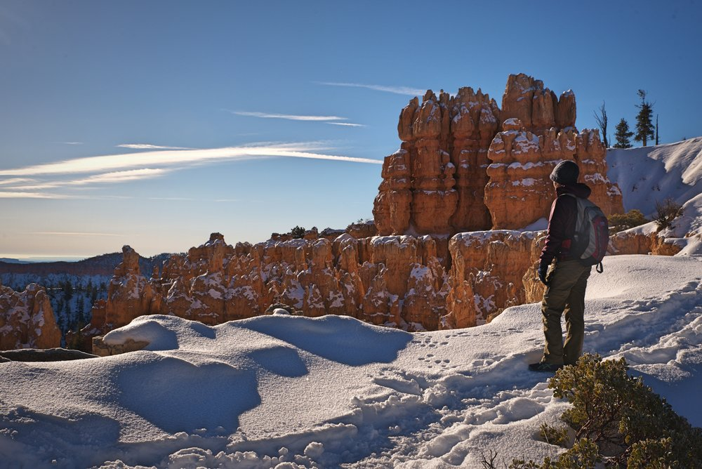 With the right  gear,  you can easily hike the Fairyland Loop in winter.
