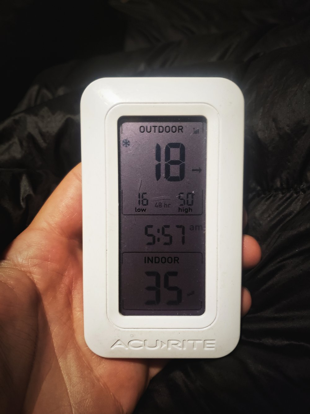 We encountered some of the coldest temperatures we've ever slept in the van in while in Bryce. (This  thermometer  is nice because it shows us the temperature in our van and outdoors.)