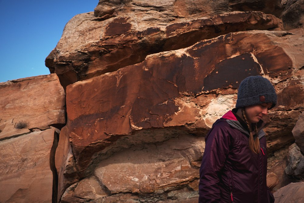 Don't skip the short spur trail to the Ute Rock Art on the way to Delicate Arch.