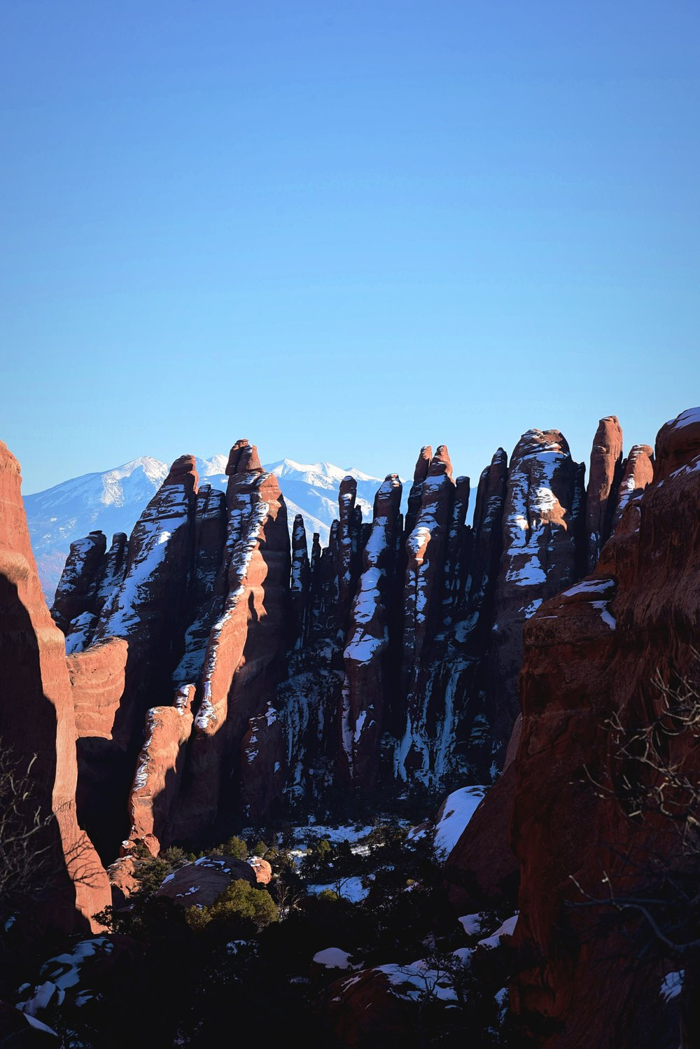 Winter transforms the stone in Arches National Park.