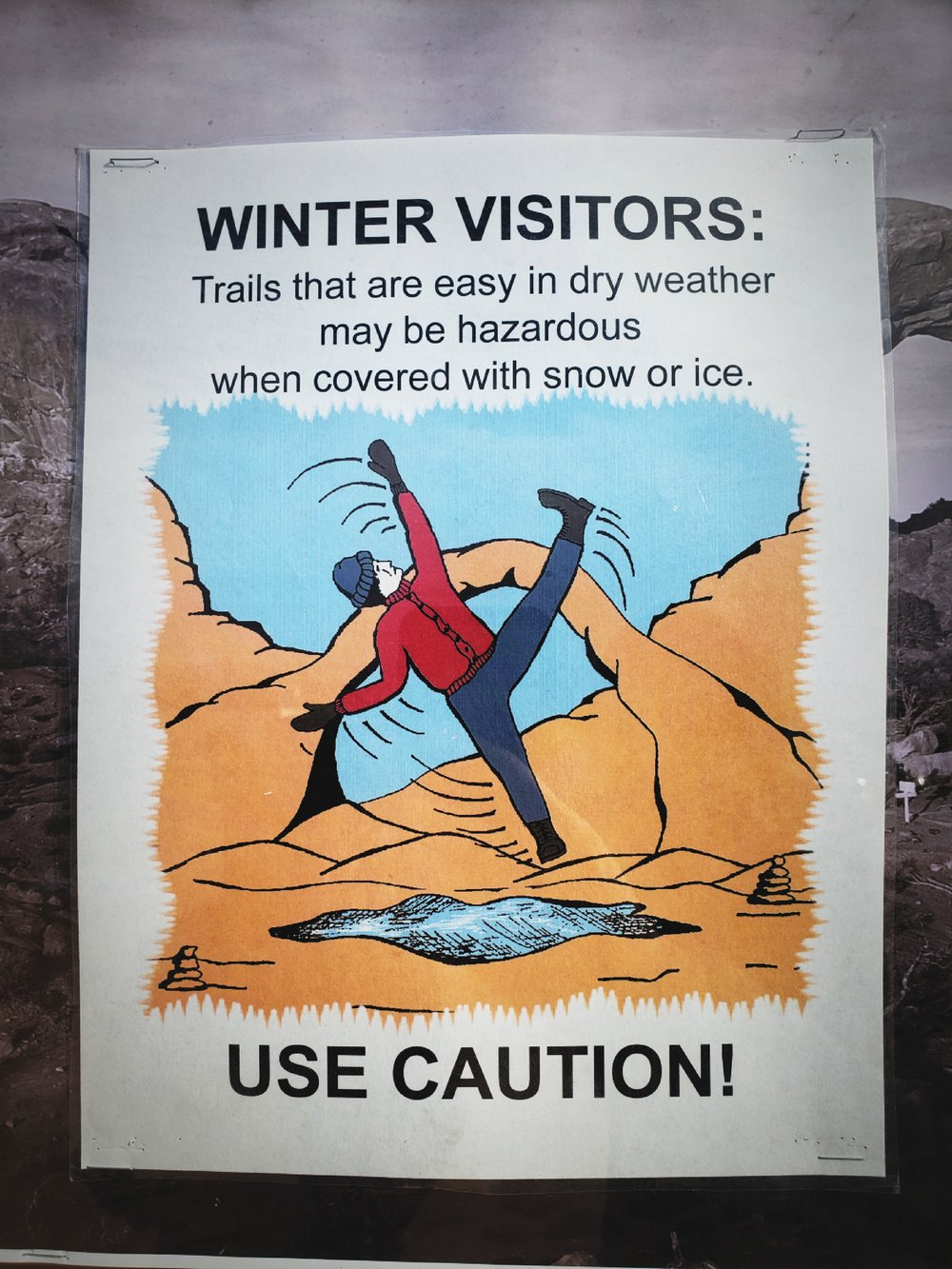 Winter can quickly change the trail conditions, and you might fall like this guy.