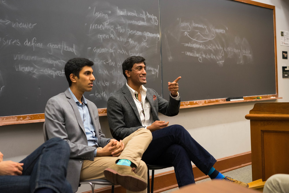 Pavuluri, with close friends Vinay Iyengar '18 and Andreas Vandris '18, sitting on a HV panel discussing their unique career choices