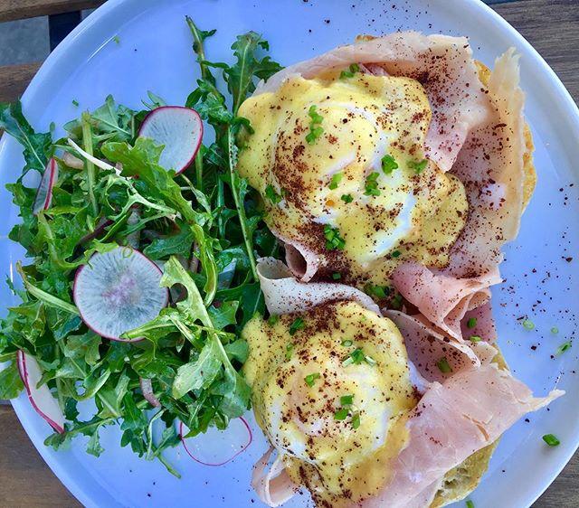 Delicious Eggs Benedict with Organic Eggs, Jambon De Paris, Hollandaise, Sumac with a Petite Arugula Salad, Brunch from 11-3pm!!!!🧀🙌🏼🍳🍾