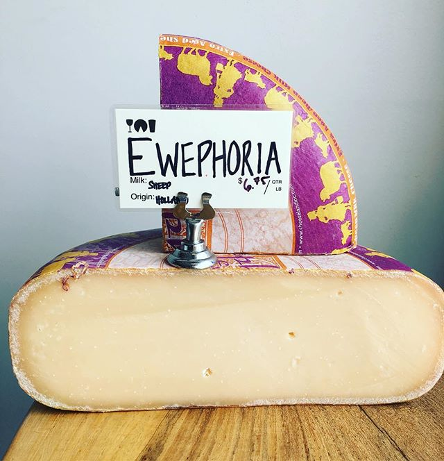 Ewephoria is a Sheep's milk Gouda imported from The Netherlands. This wonderful cheese is aged for a minimum of 12 months, allowing the salt crystals to develop which gives this cheese a great textural contrast. Trust us you'll love it!!!