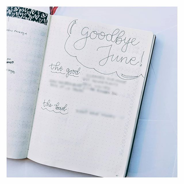 A couple days late because July crept up on me! Another post is up tonight, and I finally bid adieu to June! It was a great month ✨and 2018 is officially half over. Read about my month and take a minute to reflect on yours ✨ theuglybujo.com or link in bio • • • • • • • #bulletjournal #bujolove #bujo #bulletjournalcommunity #bujocommunity #june #goodbyejune #blog #blogpost #bujoideas #minimalism #minimal #bujomonthly #minimalbujo #bujojunkies #bujoinspiration #blogger #showmeyourplanner #showmeyourbujo #showmeyourbulletjournal #planwithme #monthataglance #monthlyspread #bujogram