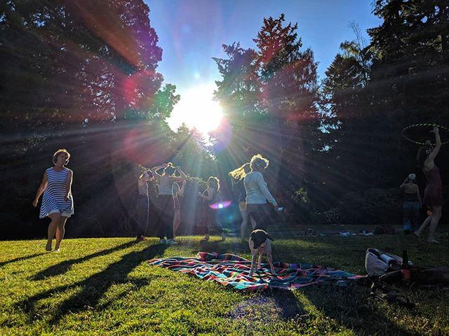 Dancing at the silent disco until the sun goes down, then dancing some more. 😊• • • • • • • • #silentdisco #laurelhurst #park #dance #danceparty #dogsofinstagram #sunset #beautiful