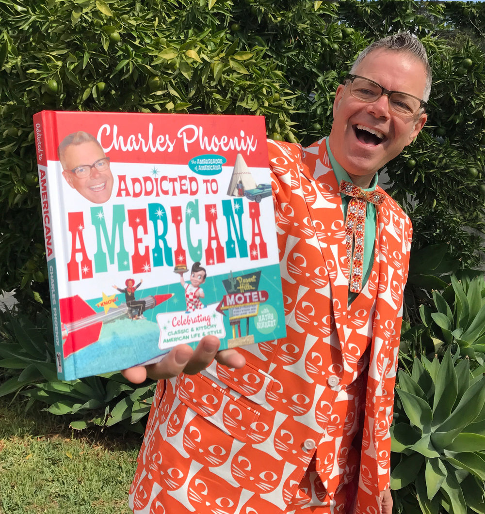 Ambassodor of Americana Charles Phoenix with his latest coffee table book, Addicted to Americana.jpg