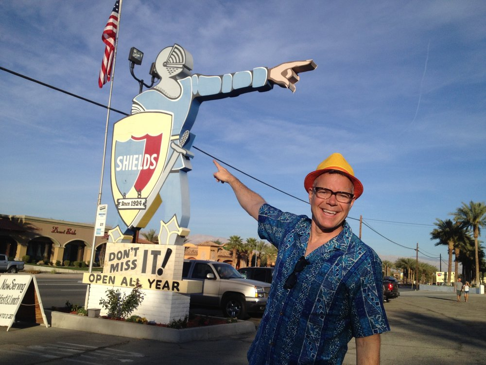 Ambassodor of Americana Charles Phoenix just before he had to shut down the old highway in front of at Shield's Date Garden, Indio, CA  .jpg