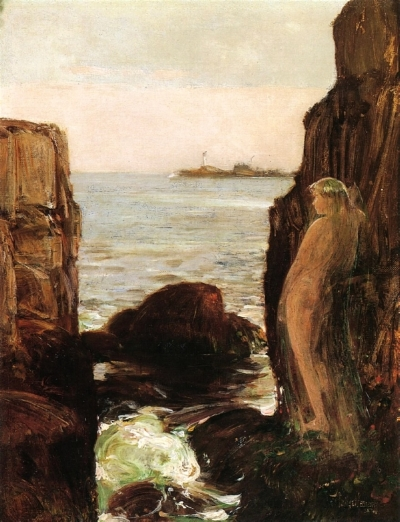 "Childe Hassam, ""Nymph on a Rocky Ledge"", 1886"