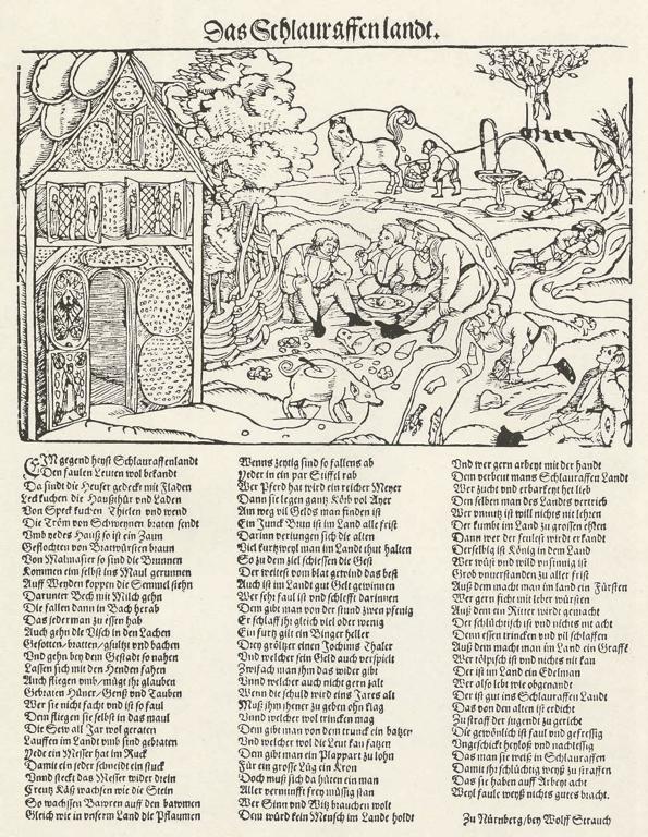 """Erhard Schoen, 1530, """"Das Schlauraffenlandt"""", illustration for a poem about Cockaigne by Hans Sachs, printed """"Zu Nürnberg, bey Wolff Strauch"""""""