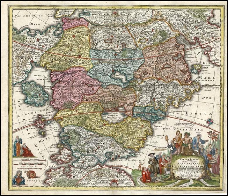 "Johann Baptist Homann (1664 - 1724) ""Accurata Utopiae Tabula"", map of Cockaigne published by Matthäus Seutter, Augsburg, 1730."