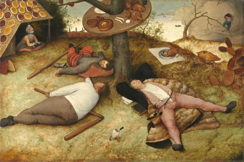 "Pieter Bruegel the Elder, ""The Land of Cockaigne"", oil on wood, 1567 (Alte Pinakothek, Munich)."