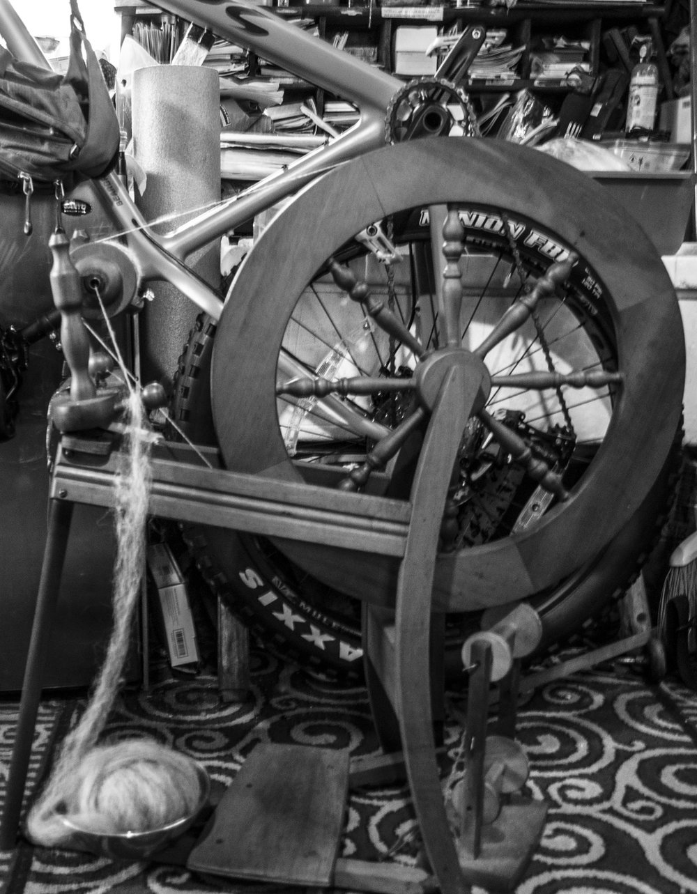 Mark Vail's spinning wheel and fat tire bike