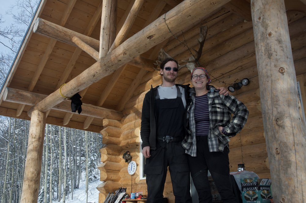 Martin Morrison and Karla Freivalds outside their rented cabin