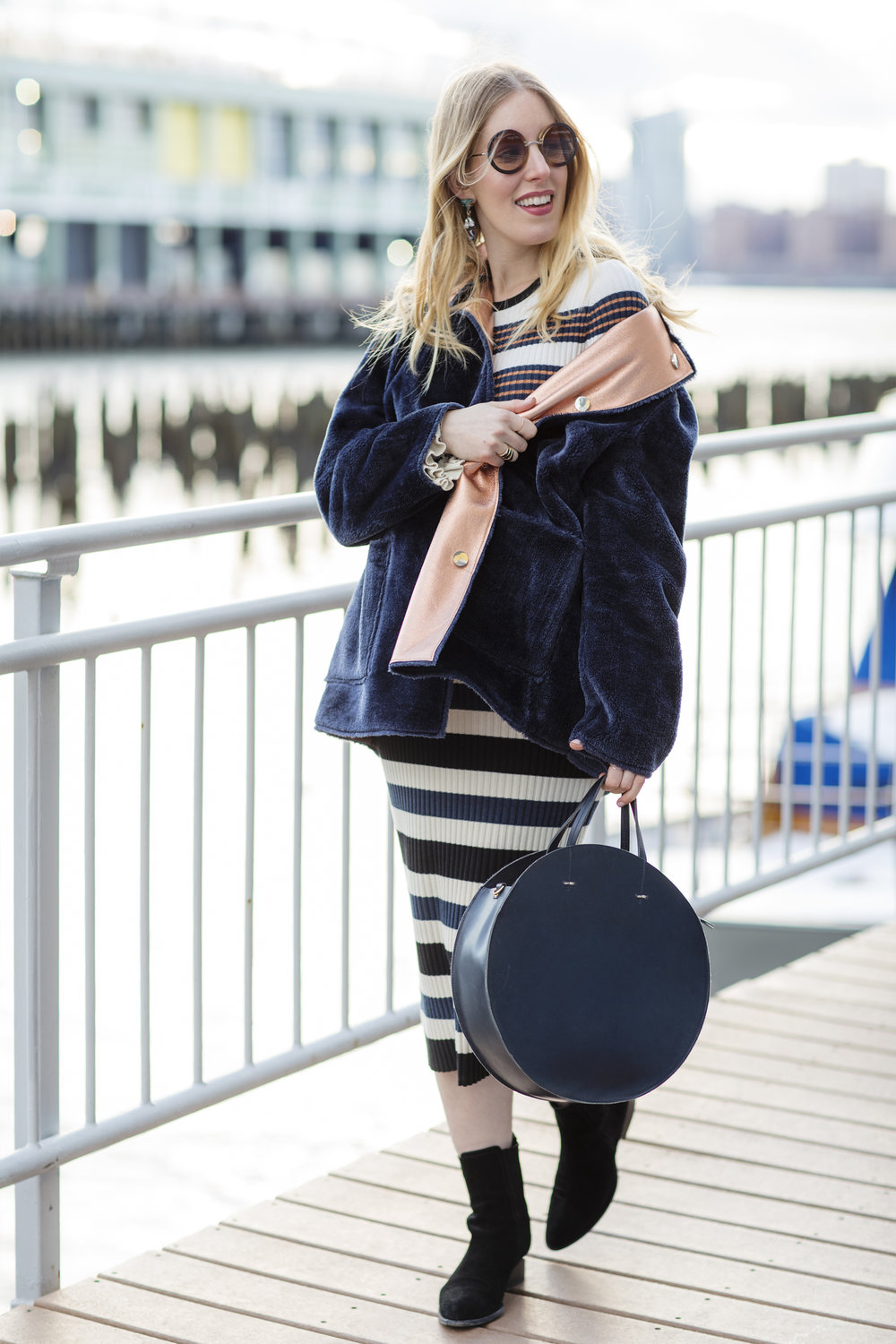 Nurtured 9's resident fashion expert Liz Teich is wearing a non-maternity Opening Ceremony look from Rent The Runway. Photo Credit:  Rima Brindamour