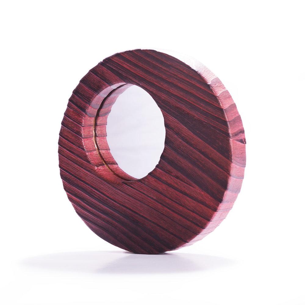 Espejo de pino decapado en rojo