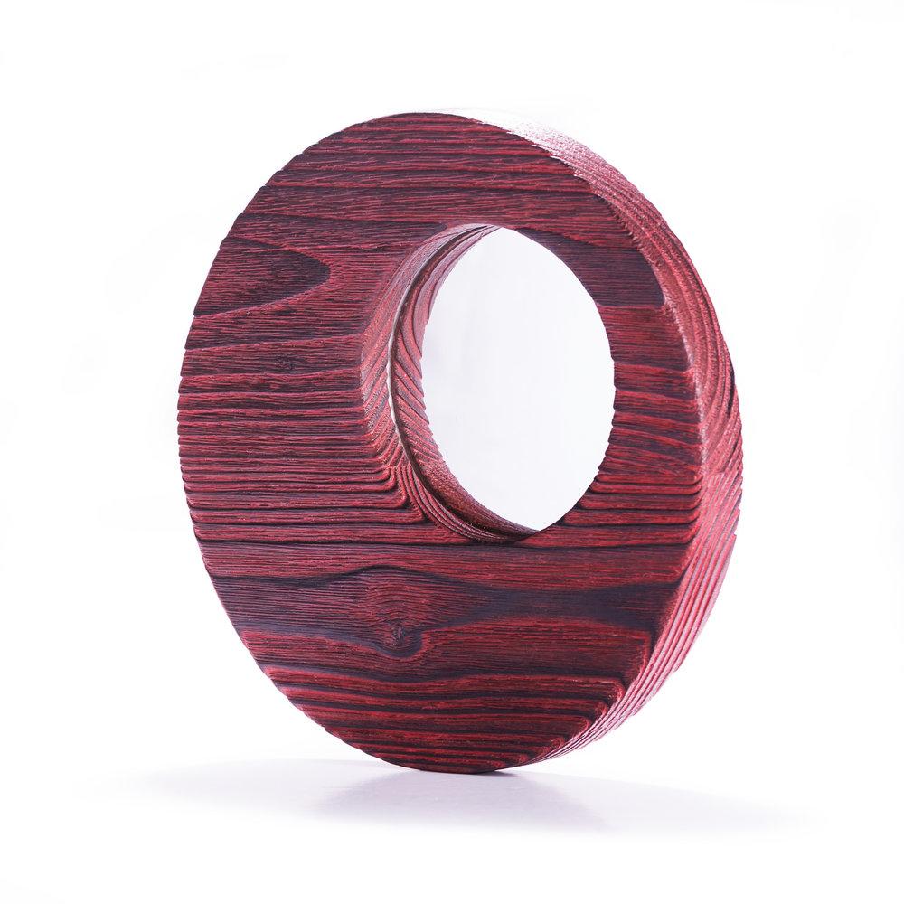 Espejo de castaño decapado en rojo