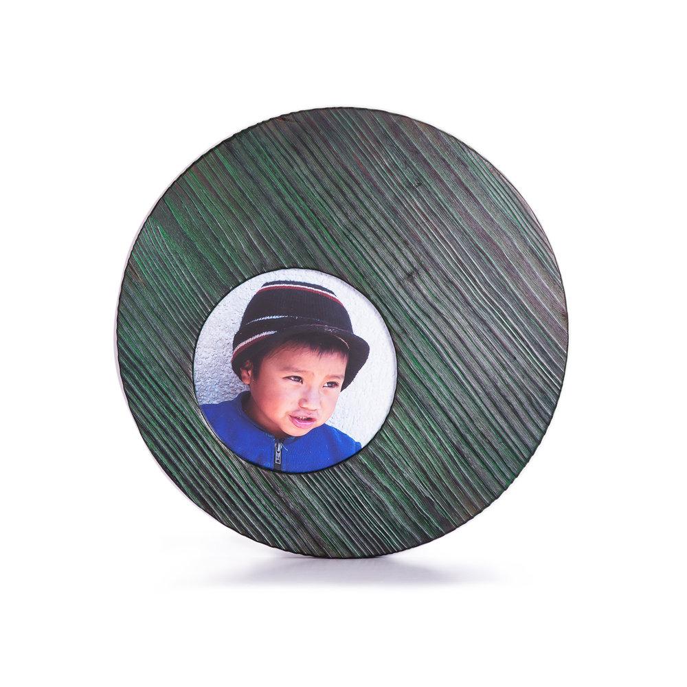 Porta retratos de pino decapado en verde
