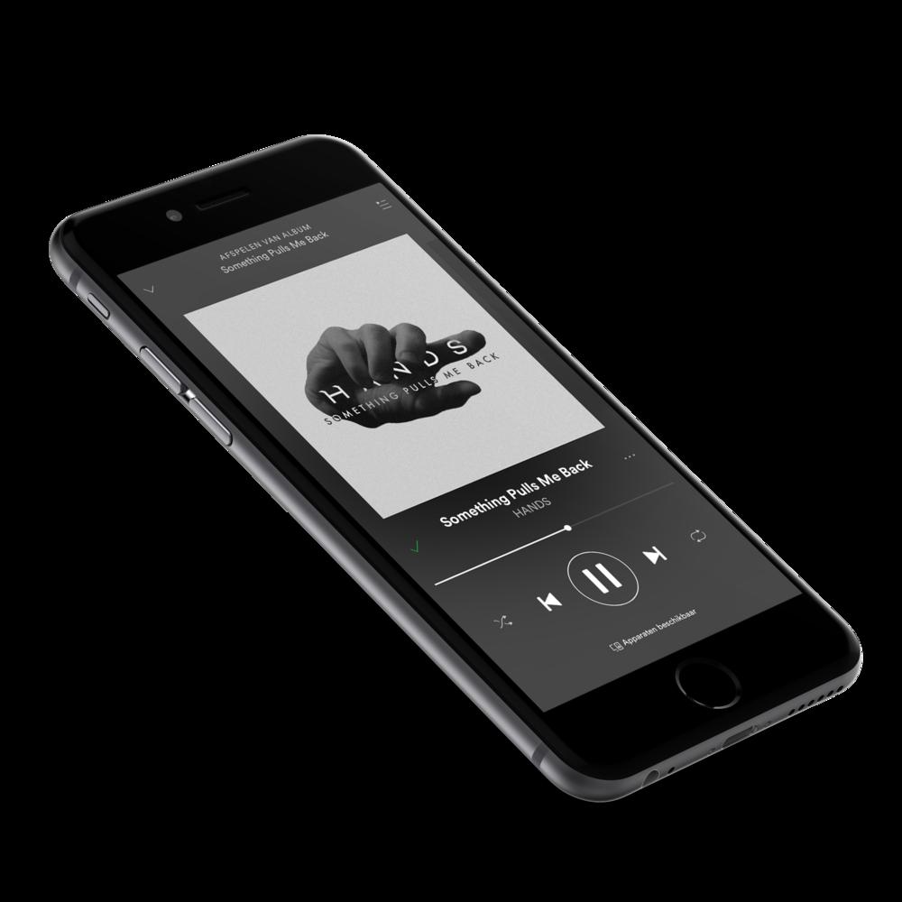 Het artwork dat we voor HANDS maakten, te bewonderen in de omgeving waarvoor het gemaakt is; streaming-diensten zoals Spotify en Apple Music.