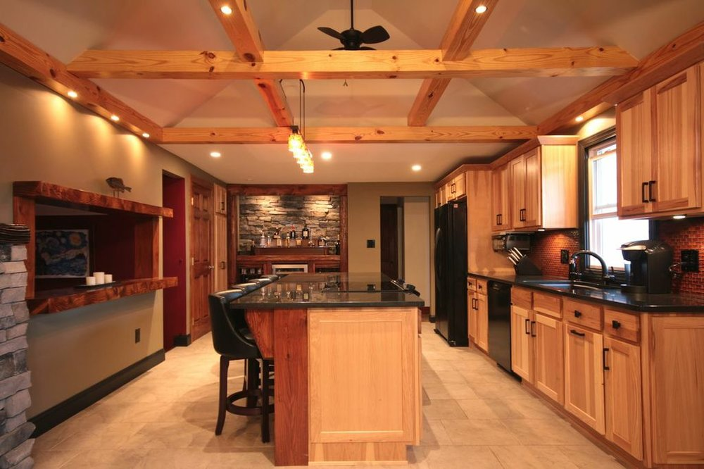 Wooden beam grid kitchen ceiling