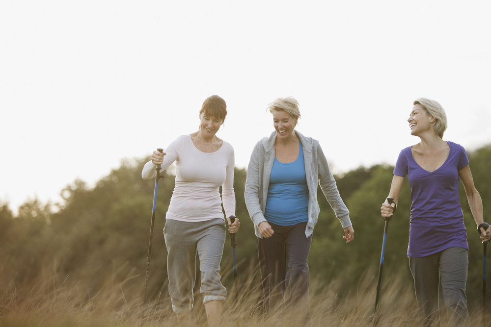 Walking - Walking helps maintain a healthy weight, prevents heart disease and high blood pressure. It also helps strengthen bones and muscle and brightens your mood.