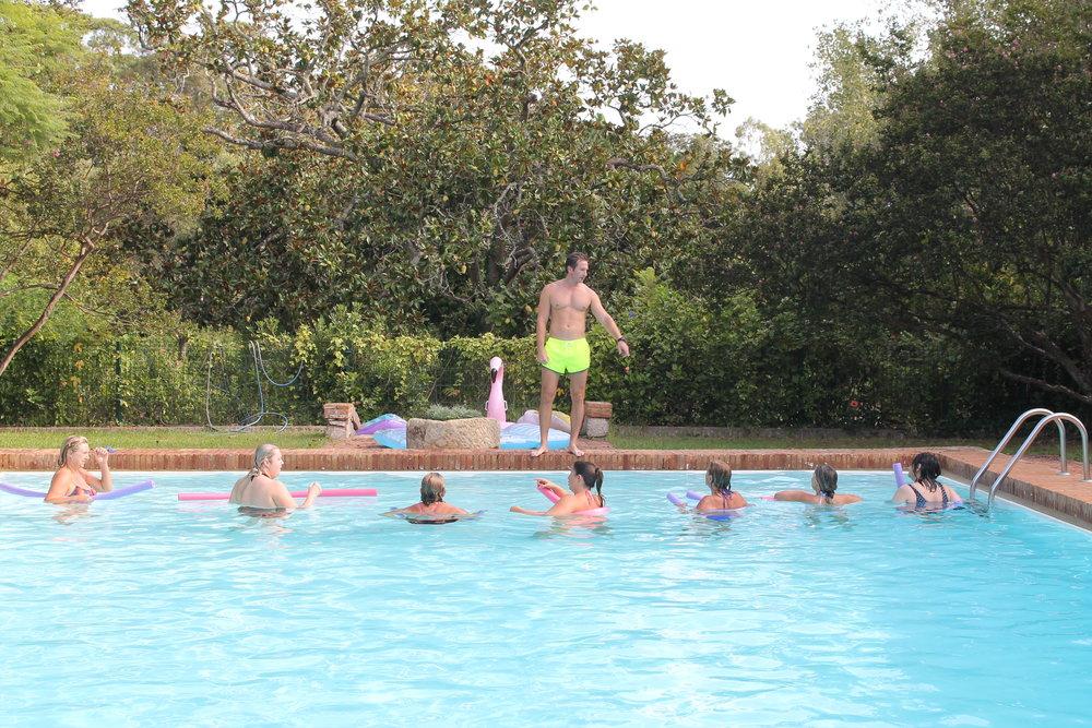 Aquarobics and pool games make the fitness retreat fun and interesting