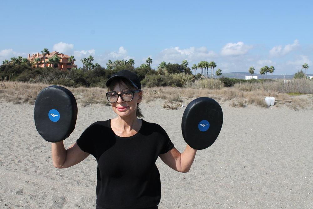 Susan enjoying boxercise at boot camp