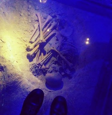 Creepy skeletons at the Rynek Underground Museum